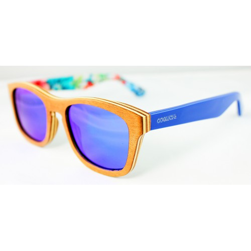 Rio gafas de sol polarizadas de madera de color azul