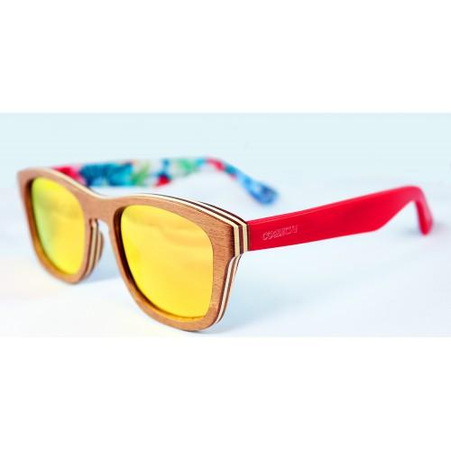 Gafas de sol de madera lentes polarizados rojo